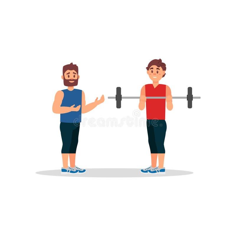 Тренер держит встречу с молодым человеком Гай делая тренировку с штангой Здоровый уклад жизни Плоский дизайн вектора иллюстрация штока