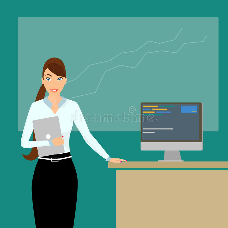 Тренер дела на времени лекции иллюстрация вектора