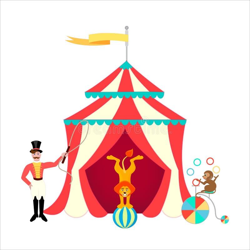 Тренер и лев на шарике, обезьяна жонглируя на велосипеде около шатра цирка бесплатная иллюстрация