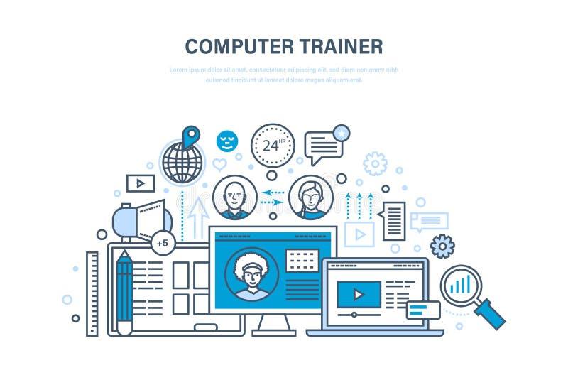 Тренер компьютера Личный тренер онлайн Дистанционое обучение, знание, уча иллюстрация штока