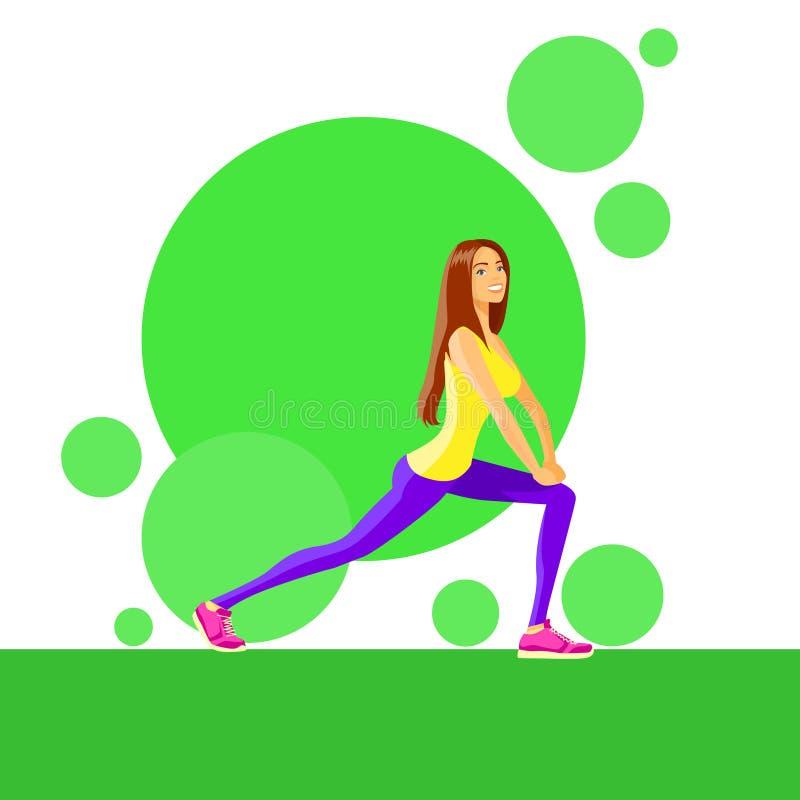 Тренер разминки тренировки девушки фитнеса женщины спорта иллюстрация вектора