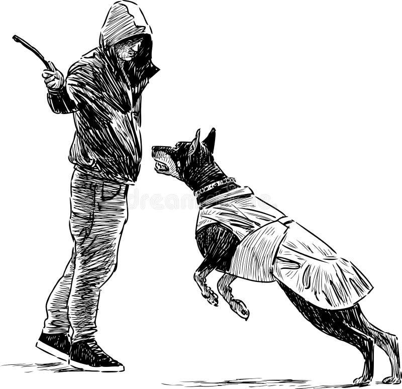 Тренер с собакой иллюстрация вектора
