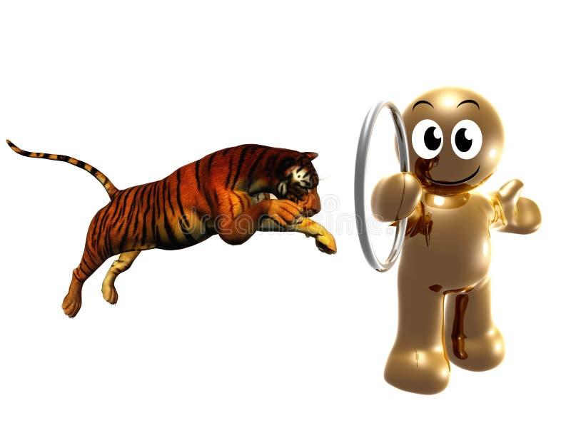 тренер тигра иконы цирка 3d иллюстрация вектора