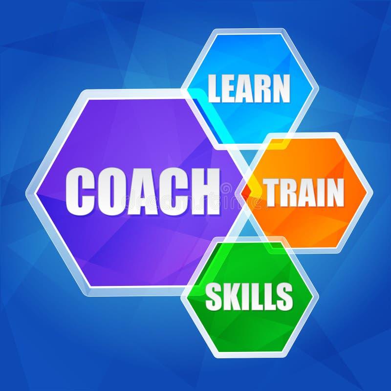 Тренер, учит, тренирует, искусства в шестиугольниках, плоском дизайне бесплатная иллюстрация