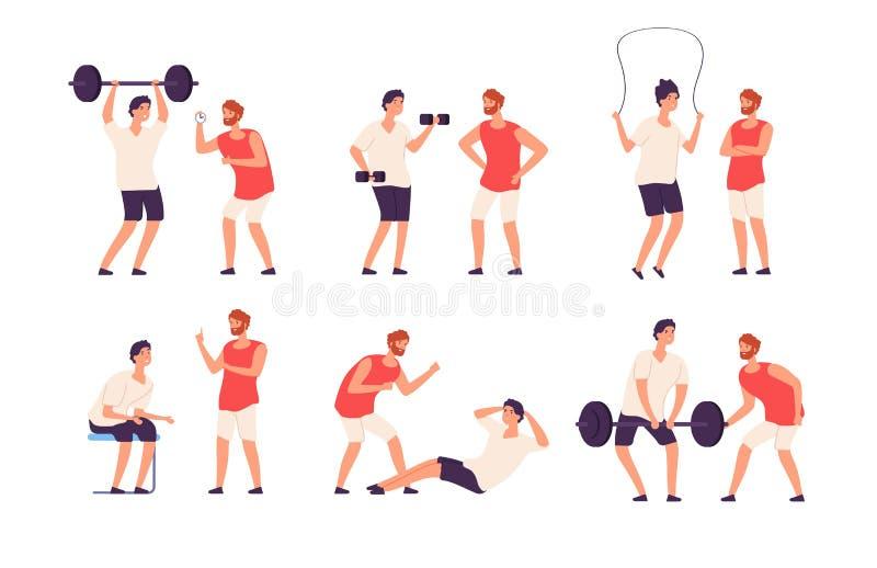 Тренер фитнеса Мужской личный тренер помогает тренировке парня культуриста работая изолированный спортзалом набор вектора иллюстрация штока