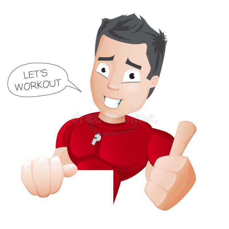 Тренер фитнеса шаржа - бесплатная иллюстрация