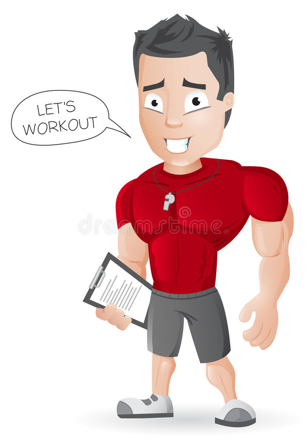 Тренер фитнеса шаржа - иллюстрация штока