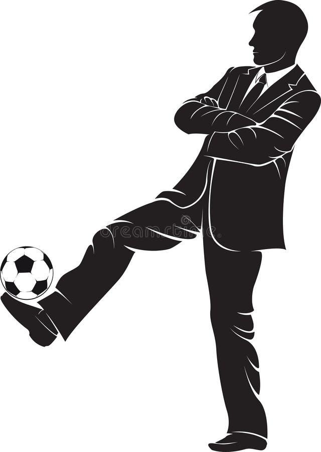 Тренер футбола с шариком иллюстрация вектора