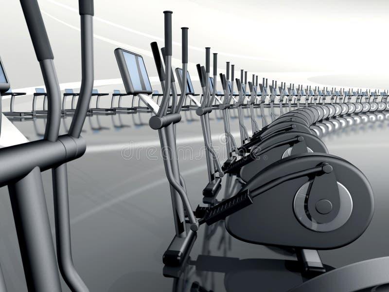 Тренер футуристического самомоднейшего спортзала эллиптический перекрестный иллюстрация штока