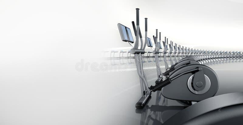 Тренер футуристического самомоднейшего спортзала эллиптический перекрестный иллюстрация вектора