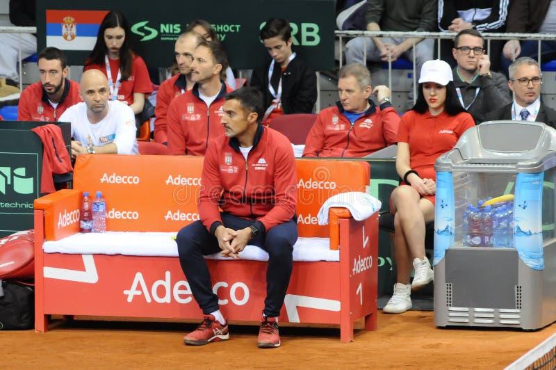 Тренер Nenad Zimonjic сербской команды Davis Cup тенниса СЕРБИЯ 2018 против дня США первого, стоковые фото
