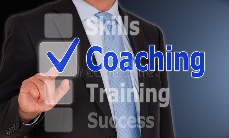 Тренировать - менеджер с кнопкой сенсорного экрана стоковая фотография