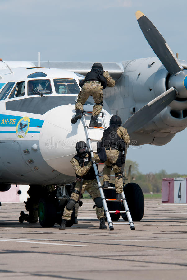 Тренировка антитеррористических блоков стоковое изображение
