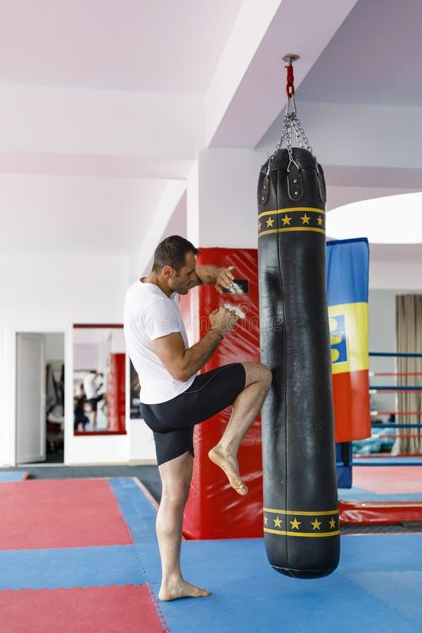 Тренировка бойца Kickbox в спортзале с сумками пунша, видит целый стоковое фото rf