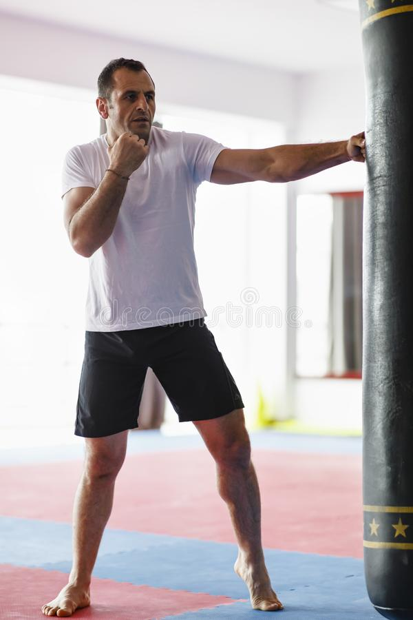 Тренировка бойца Kickbox в спортзале с сумками пунша, видит целый стоковое изображение