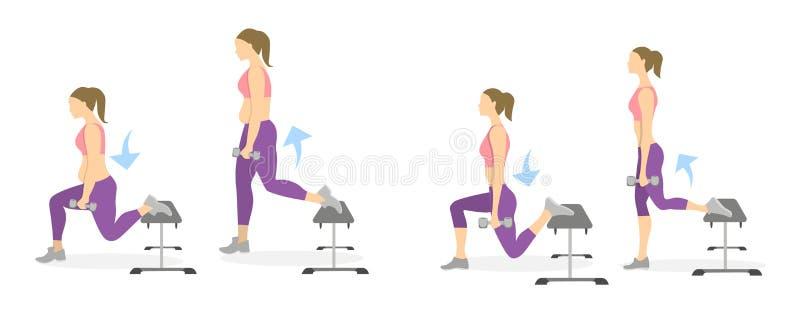 Тренировка выпада для ног иллюстрация вектора