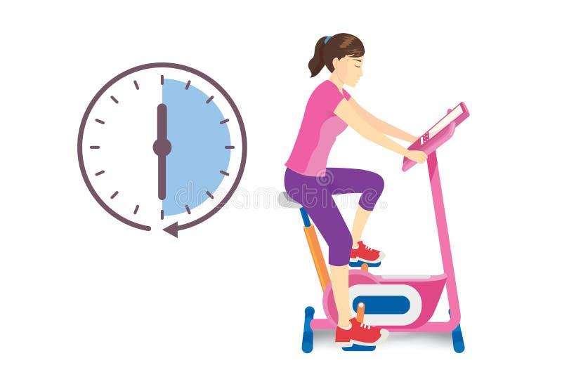 Тренировка женщины на неподвижном велосипеде при значок часов изолированный на белизне бесплатная иллюстрация