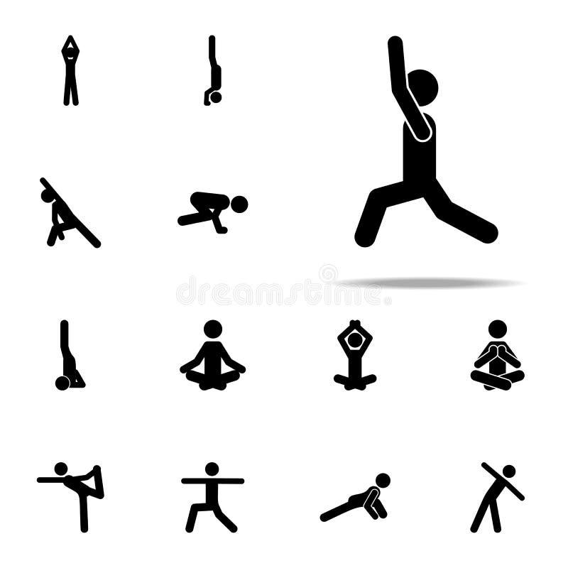 тренировка, значок позиции набор значков йоги всеобщий для сети и черни иллюстрация вектора