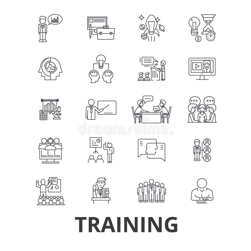 Тренировка, коммерческая школа, онлайн курс, уча, поезд, образование, линия значки исследования Editable ходы Плоский дизайн бесплатная иллюстрация