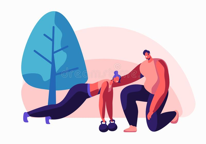Тренировка молодой женщины в спортзале с помощью тренера Делать женского характера нажимает вверх разминку с гантелями Тренировка иллюстрация штока