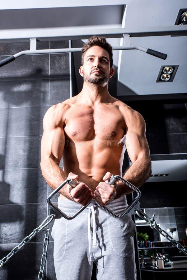 Тренировка молодого человека в гимнастике стоковые фото
