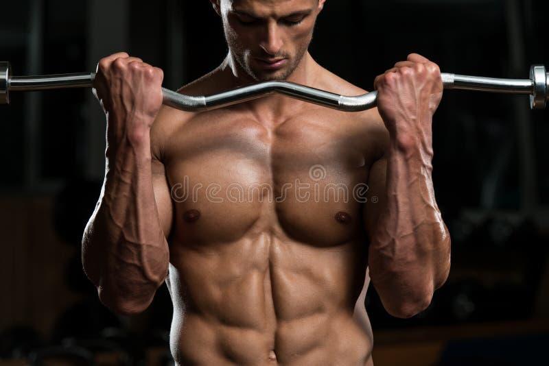 Тренировка молодого человека с штангой стоковое изображение rf