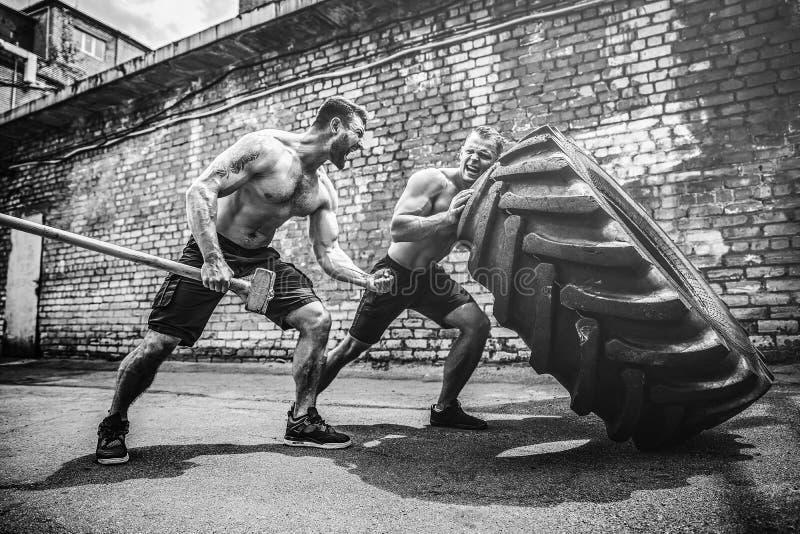 Тренировка 2 мышечная спортсменов Автошина мышечного человека фитнеса без рубашки moving большая стоковое фото rf