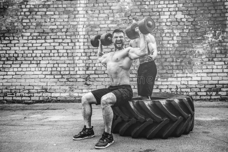 Тренировка 2 мышечная спортсменов стоковые фото