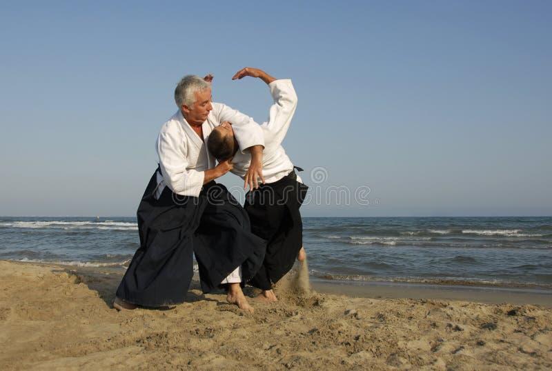 тренировка пляжа aikido стоковые изображения
