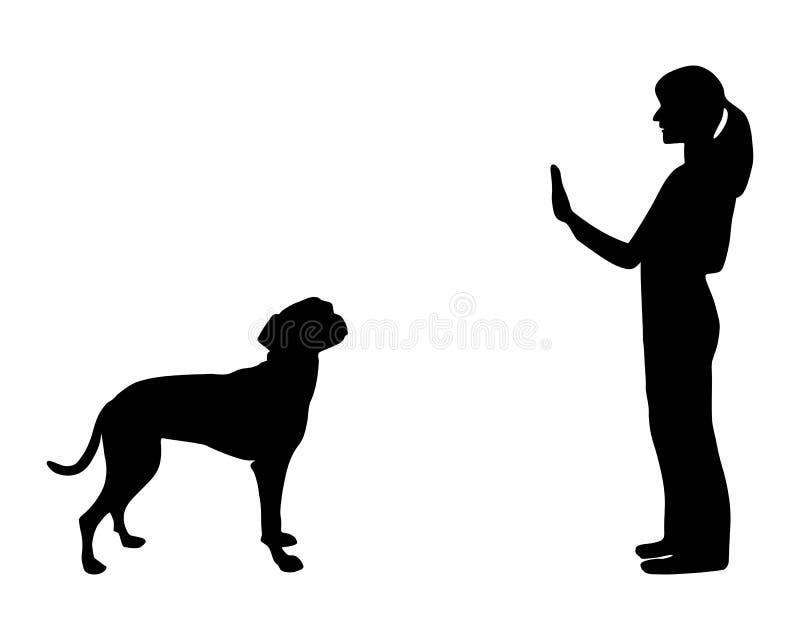 тренировка повиновению собаки иллюстрация вектора