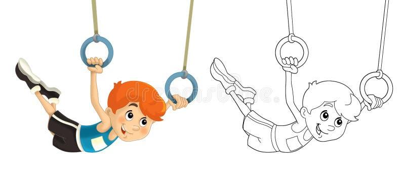 Тренировка ребенк - акробатика - страница расцветки - иллюстрация вектора
