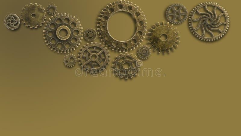Тренировка старых cogs на worn технологии обходит вокруг предпосылку концепции машины новую будущую для золота металла решения де стоковое изображение rf