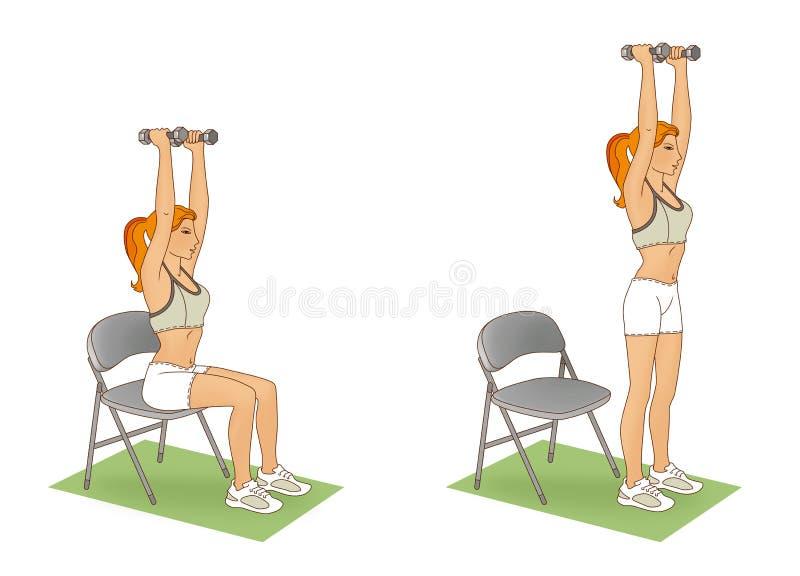 Тренировка с гантелями Девушка выполняя тренировку поднимаясь от стула с ее поднятыми оружиями и гантелью иллюстрация штока