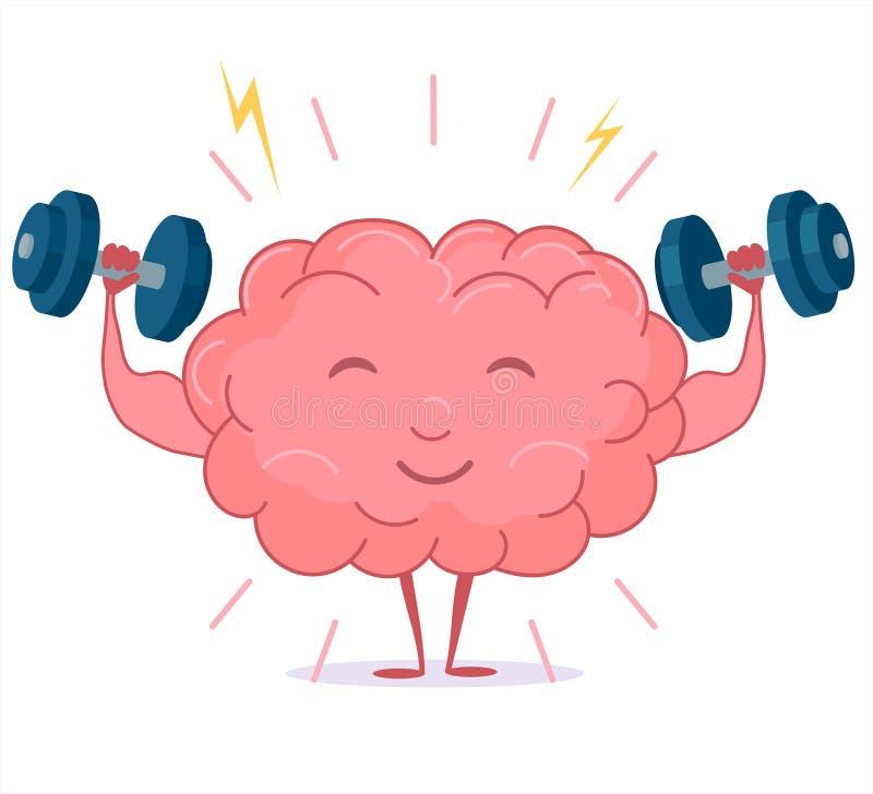 Тренировка с гантелями, разминка мозга разума вектор иллюстрация штока