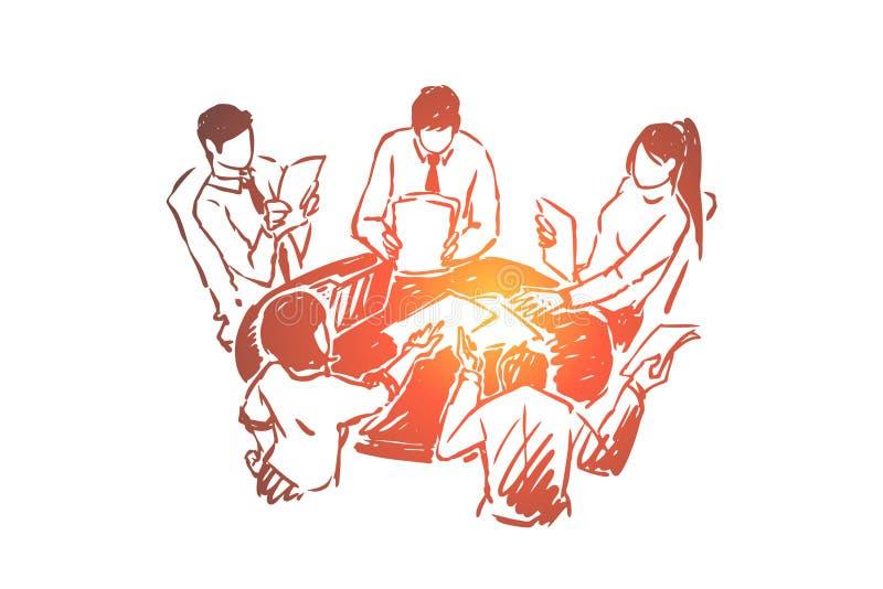 Тренировка тимбилдинга, студенты коллективно обсуждать, сыгранность, процесс обсуждения стратегии развития биснеса бесплатная иллюстрация