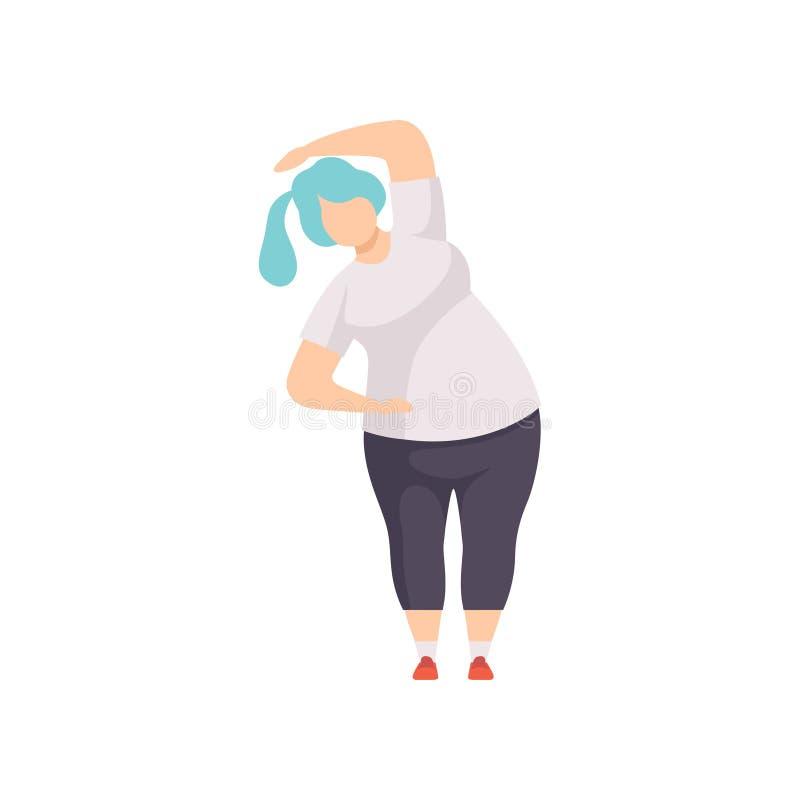 Тренировка фитнеса спорт женщины тучности нося равномерная делая, иллюстрация вектора концепции программы потери веса на белизне бесплатная иллюстрация