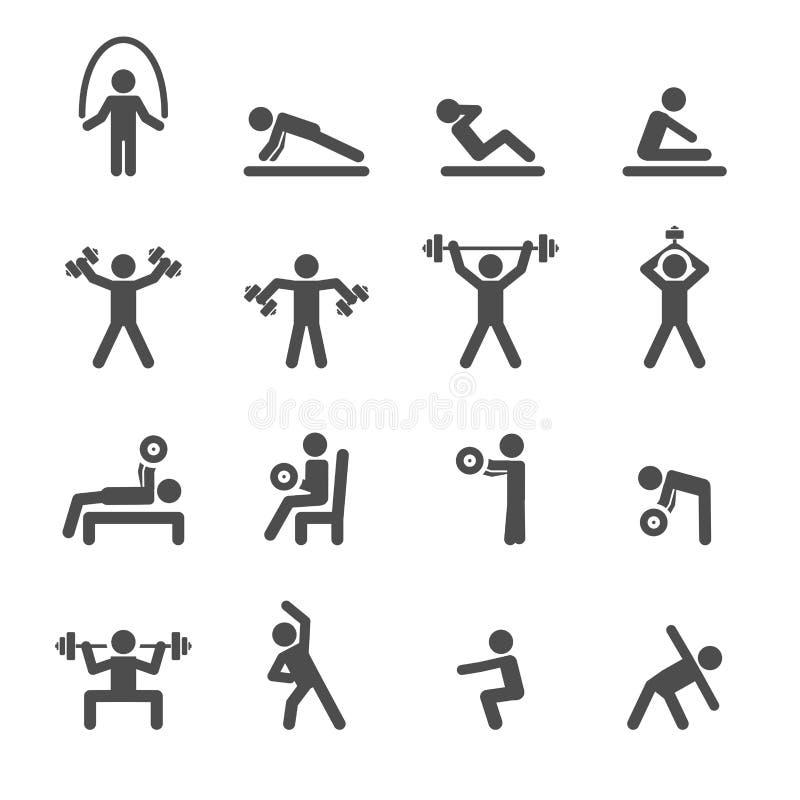 Тренировка людей в комплекте значка фитнеса, векторе eps10 иллюстрация штока