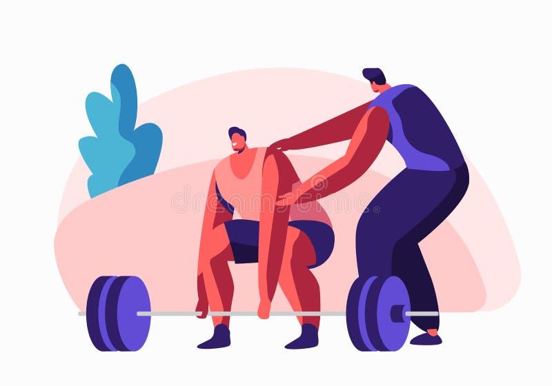 Тренировка Powerlifter спортсмена в спортзале с помощью тренера Мужской характер в разминке Sportswear с весом Занимаясь культури бесплатная иллюстрация