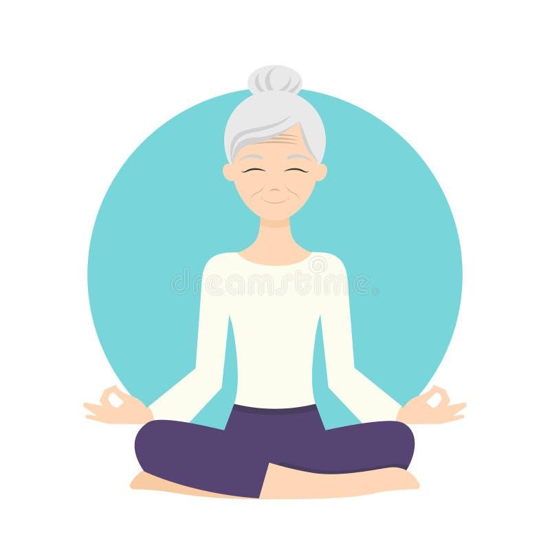 Тренировки йоги старшей женщины практикуя Здорово иллюстрация штока