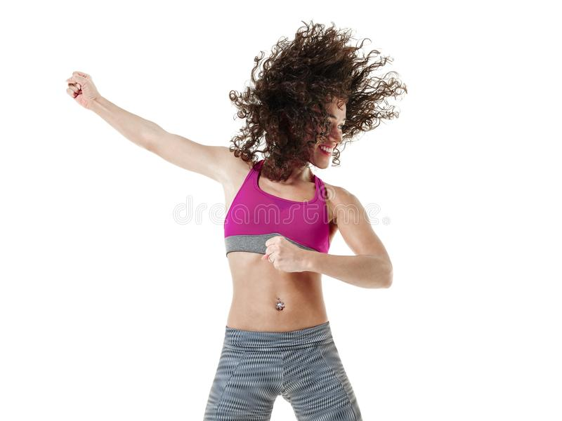 Тренировки фитнеса танцев танцора zumba женщины стоковые изображения rf