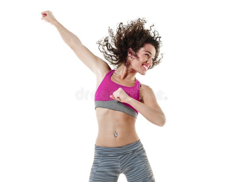 Тренировки фитнеса танцев танцора zumba женщины стоковое изображение rf