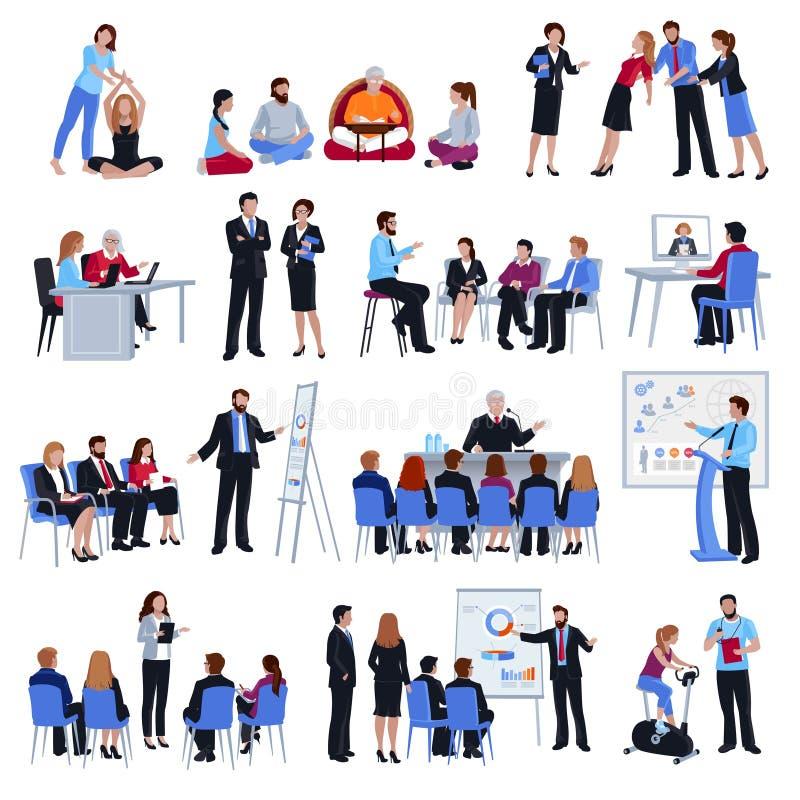 Тренирующ установленные значки Discipleship менторства плоские бесплатная иллюстрация