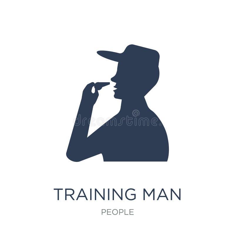 Тренируя значок человека Ультрамодный плоский значок человека тренировки вектора на белизне бесплатная иллюстрация