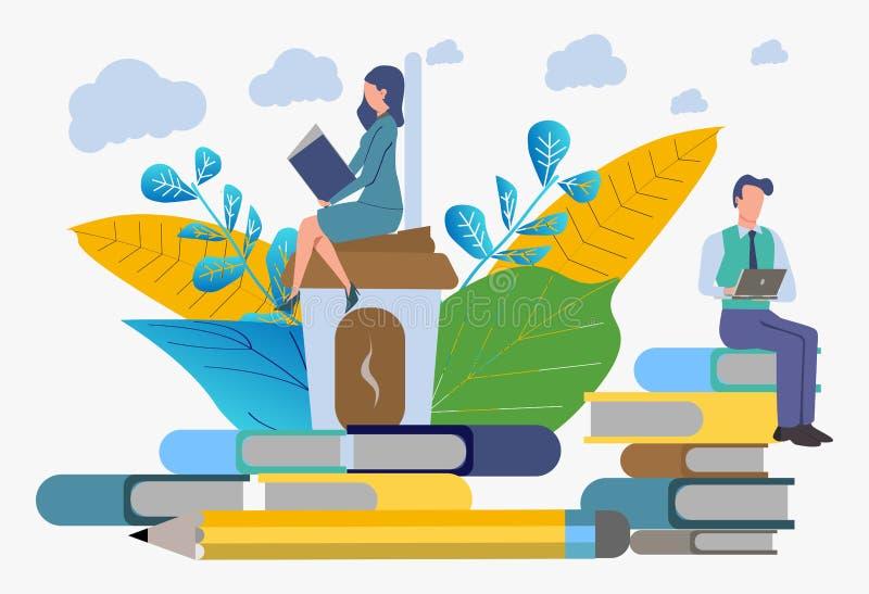 Тренируя работники компании Получать знание от книг и интернета r иллюстрация вектора
