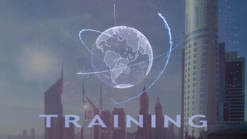 Тренируя текст с hologram 3d земли планеты против фона современной метрополии иллюстрация штока