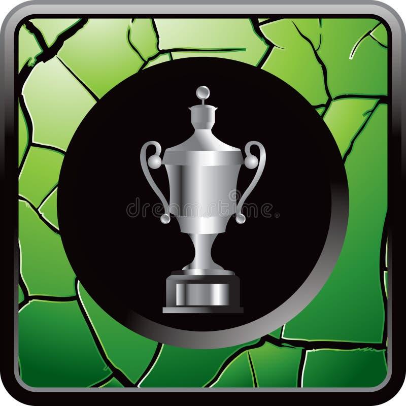 треснутая зеленая сеть трофея серебра иконы иллюстрация вектора
