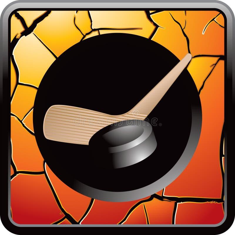 треснутая кнопкой сеть ручки шайбы хоккея померанцовая иллюстрация вектора
