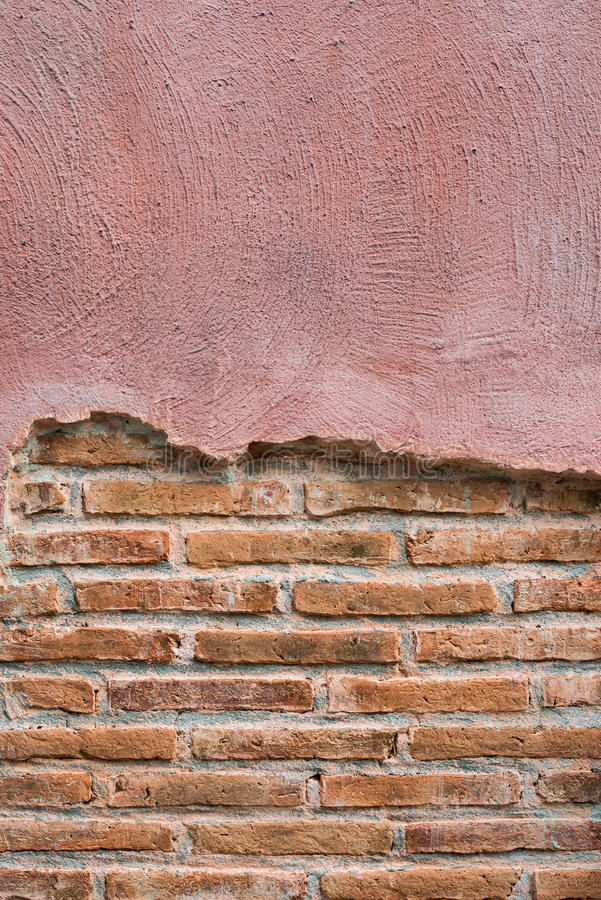 Треснутая конкретная предпосылка кирпичной стены сбора винограда С космосом для текста стоковые изображения rf