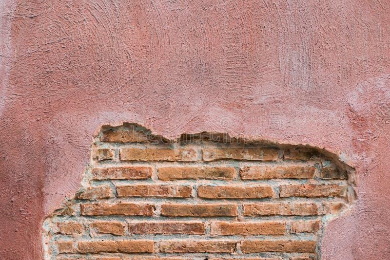 Треснутая конкретная предпосылка кирпичной стены сбора винограда С космосом для текста стоковая фотография rf