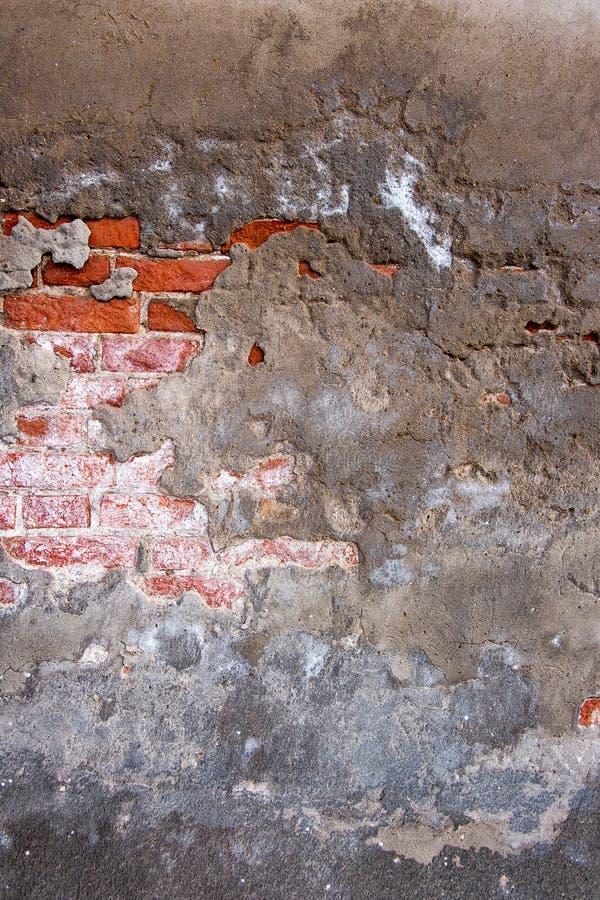 Треснутая конкретная предпосылка кирпичной стены сбора винограда стоковые фотографии rf